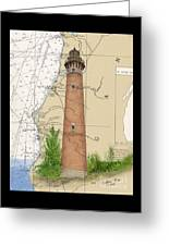 Little Sable Lighthouse Lake Mi Nautical Chart Map Art Cathy Peek Greeting Card