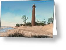 Little Sable Point Lighthouse Titled Greeting Card