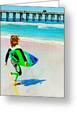 Little Surfer Dude Greeting Card