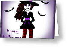 Little Witch Halloween Girl Greeting Card