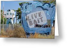 Live Bait Sign And Muffler Man Statue Greeting Card