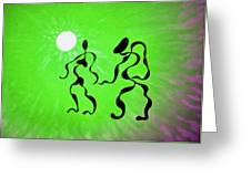 Lively Rhythms In Green Greeting Card