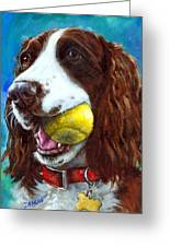 Liver English Springer Spaniel With Tennis Ball Greeting Card