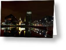 Liverpool Docks At Night Greeting Card