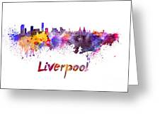 Liverpool Skyline In Watercolor Greeting Card