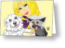 Lizzie And Dimey And Pinny Greeting Card