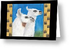 Llamas Tracks Farm Ranch Animal Art Camelid Greeting Card