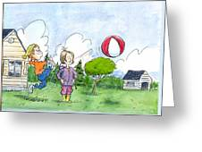 Elliot And Ella Playing With A Balloon Greeting Card