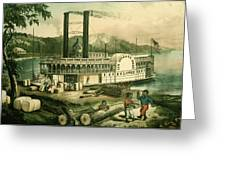 Loading Cotton On The Mississippi, 1870 Colour Litho Greeting Card