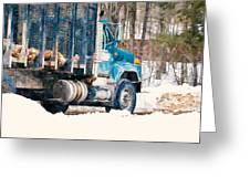Loading Of Logs  Greeting Card