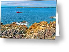 Lobster Boat Checking Traps In Louisbourg Bay-ns Greeting Card