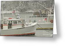 Snowy Lobster Boats Greeting Card