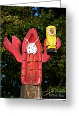Lobster Catching Lobsterman Statue Greeting Card