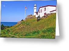 Lobster Cove Lighthouse With Blue Sky In Gros Morne Np-nl Greeting Card