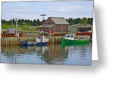 Lobster Fishing Baskets And Boats In Forillon Np-qc Greeting Card