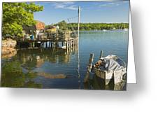 Lobster Traps On Pier In Round Pound On The Coast Of Maine Greeting Card