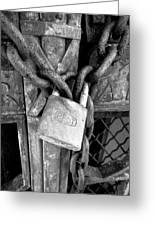Locked - Black And White Greeting Card