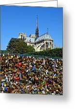 Locks Galore On The Pont De L'archeveche In Paris Greeting Card