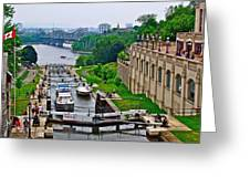 Locks On Rideau Canal East Of Parliament Building In Ottawa-on Greeting Card