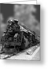Locomotive 639 Type 2 8 2 Front And Side View Bw Greeting Card