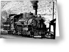 Locomotive Black And White Train Steam Engine Greeting Card