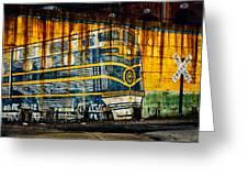 Locomotive On A Wall Greeting Card