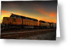 Locomotive Sunset Greeting Card