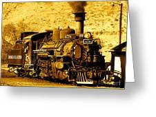 Sepia Locomotive Coal Burning Train Engine   Greeting Card