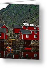Lofoten Fishing Huts 2 Greeting Card by Steve Harrington