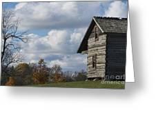 Log Cabin And November Sky Greeting Card