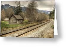 Log Cabin And Railroad Tracks Greeting Card