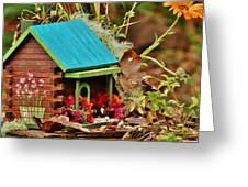 Log Cabin Birdhouse In Fall Greeting Card