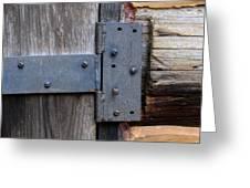 Log Cabin Door Hinge Greeting Card