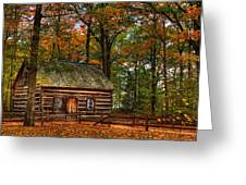 Log Cabin In Autumn Color Greeting Card