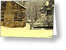 Log Cabin In The Snow Greeting Card