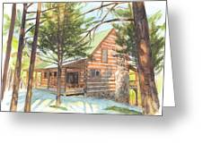 Log Cabin In The Woods Watercolor Portrait Greeting Card