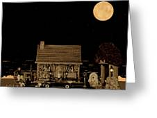 Log Cabin Ocean View With Old Time Classic 1938 Mercedes Benz 770k Pullman Convertible Greeting Card by Leslie Crotty