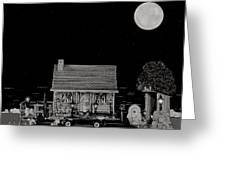 Log Cabin Ocean View With The Old Vintage Classic 1938 Mercedes Benz 770k Pullman Convertible In B/w Greeting Card