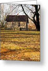 Log Cabin On A Hill Greeting Card