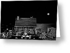 Log Cabin Scene In Black And White With Old Time Classic 1908 Model T Ford Greeting Card by Leslie Crotty