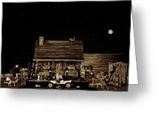 Log Cabin Scene Near The Ocean In Sepia Color With Old Time Classic 1908 Model T Ford Greeting Card