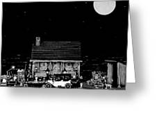 Log Cabin Scene  With The Old Vintage Classic 1913 Buick Model 25 In Black And White Greeting Card