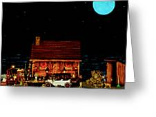 Log Cabin Scene  With The Old Vintage Classic 1913 Buick Model 25 In Color Greeting Card