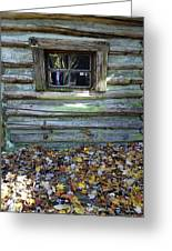 Log Cabin Window And Fall Leaves Greeting Card