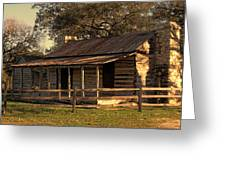 Log Cabins In Sunset Greeting Card by Linda Phelps