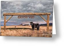 Log Entrance To Grass Fed Angus Beef Ranch Greeting Card by Susan McKenzie