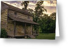 Log House Dusk Greeting Card