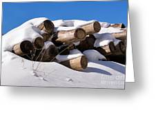 Log Pile In A Snow Drift In Winter Greeting Card