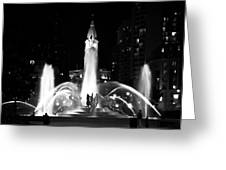 Logan Square Fountain At Night In Black And White Greeting Card