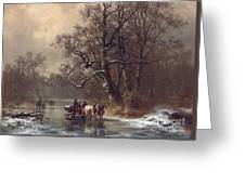 Loggers On A Frozen Waterway Greeting Card